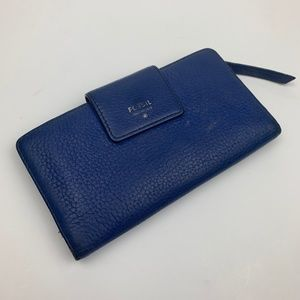 Fossil Blue Leather Snap Wallet
